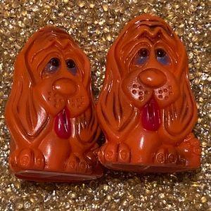 Vintage Orange Hound dog Salt and Pepper